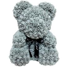 23 см/40 см, искусственные цветы, розовый медведь, разноцветный пластиковый пенопластовый цветок розы, плюшевый медведь, подарок на день Святого Валентина, День рождения