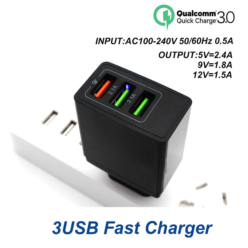 USB Charger 3 Ports Portable Phone Wall Chargers Fast USB Charging Travel Adapter For iPhone X 8 Samsung S8 S8 Xiaomi Huawei