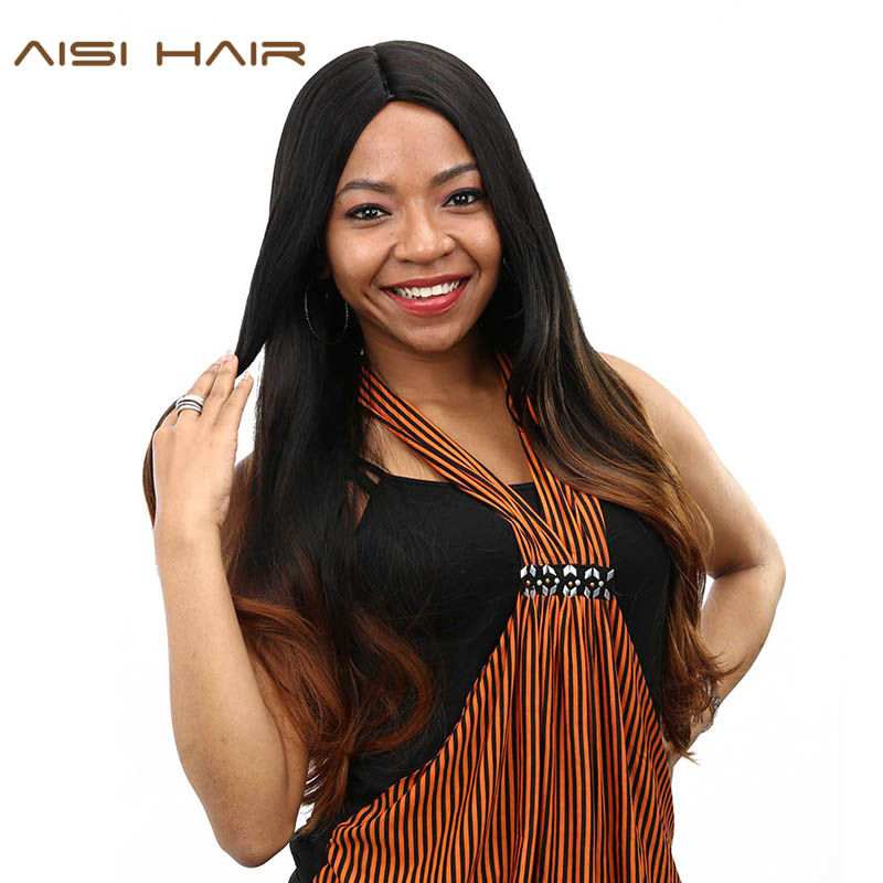 AISI HAIR synthetic Ombre Wigs For Black Women Long Wavy Cosplay Dark Brown Hair