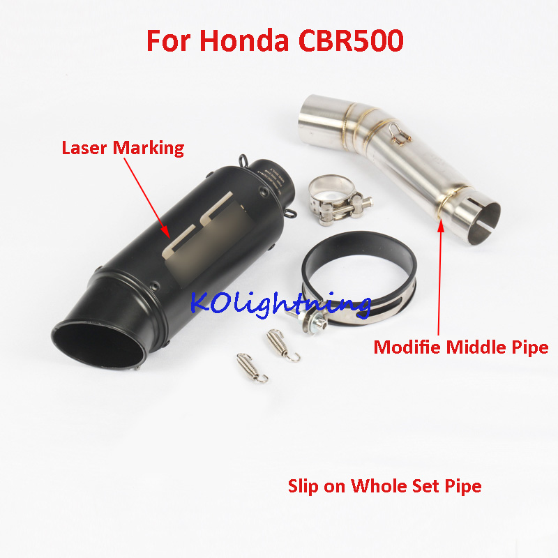 Motorcycle Slip on Muffler Exhaust Pipe Tip Silencer Escape Middle Mid Connect Link CBR500 CB500X CB500F for Honda