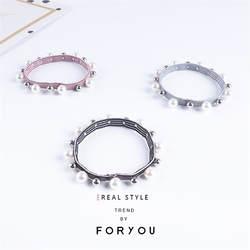 Новый 6 шт. высококачественные серебряные нить жемчуга эластичные резинки для волос многоцветный Для женщин девочек Головные уборы