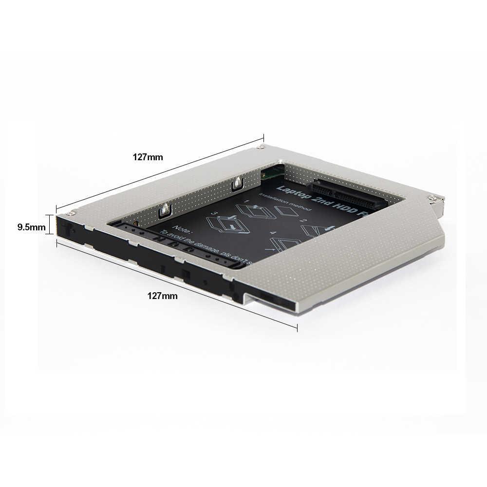 Sunvalley כונן קשיח מקרה 9.5mm Slim האוניברסלי IDE כדי SATA 2nd SSD Caddy SSD אלומיניום DVD/CD-ROM אופטי מפרץ עבור מחשב נייד