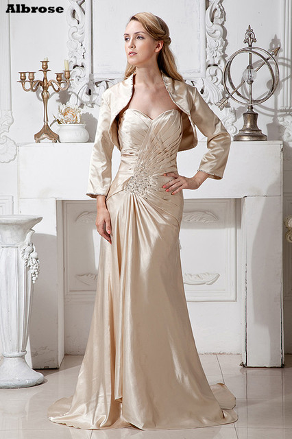 Light Champagne Mother Of The Bride Dresses With Jacket Evening Dress Satin Sequined Beaded