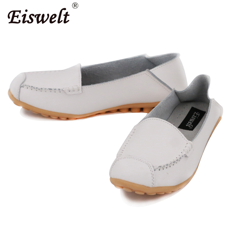 EISWELT 2018 Hot Sale Fashion Womens Shoes Square Toe shallow Leather Shoes Women Loafers Summer Flat Shoes#XH028 e hot sale wholesale 2015 new women fashion leopard flat shallow mouth shoes lady round toe shoes