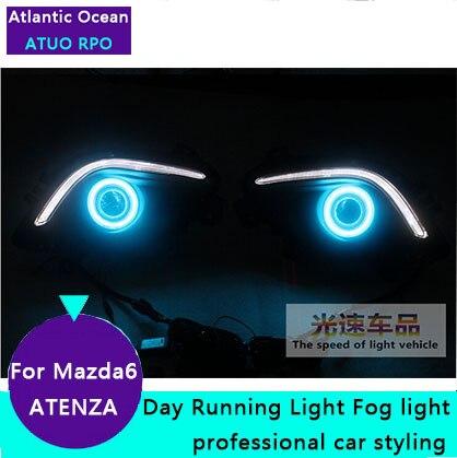 AUTO PRO for Mazda 6 ATENZA LED Fog ligths Car Styling For Mazda 6 ATENZA LED DRL parking driving cover led lens fog lamps