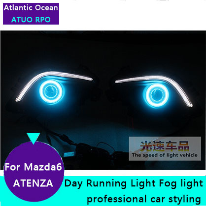 AUTO PRO for Mazda 6 ATENZA LED Fog ligths Car Styling For Mazda 6 ATENZA LED DRL parking driving cover led lens fog lamps mazd6 atenza taillight sedan car 2014 2016 free ship led 4pcs set atenza rear light atenza fog light mazd 6 atenza axela cx 5