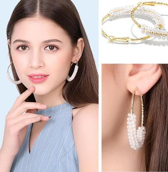 1 Pair Fashion 50mm Big Round Loop Circle  Earring New Brand Imitation Pearl Gold-color Flower Cut Loop  Earrings 5