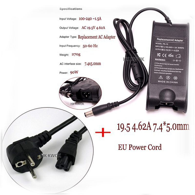 Power Adapter Para DELL Laptop 19.5 V 4.62A + Plugue DA UE Para Dell Pa-1900-02D PA-10 1545 N4010 N4030 N4050 inspiron D610 D620 D630