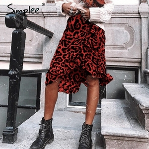Image 2 - Женская красная леопардовая юбка карандаш Simplee, привлекательная юбка с завышенной талией и рюшами для девочек, винтажная корейская миди юбка для осени и зимы