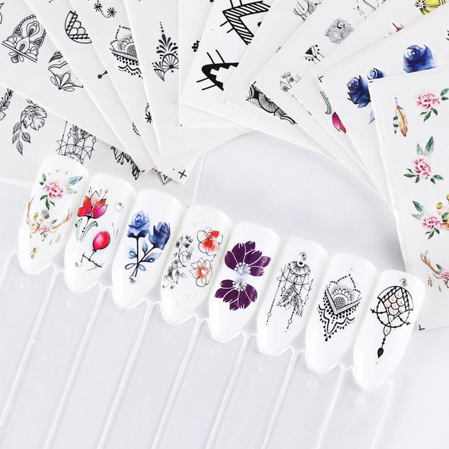 13pcs Water Decal Nail Sticker Sliders Set Black jewelry Water Wraps Nail Transfer Foil Nail Art Decor Manicure Tip SASTZ766-778