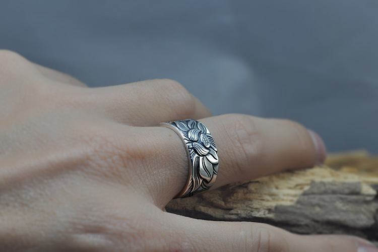 925 Silver Lotus Rings Good Luck Buddha Adjustable Size Trendy Popular S925 Solid Thai Silver Ring for Women Men Jewelry 10