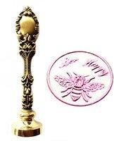 Vintage Bee Happy Fancy Script Custom Picture Logo Luxury Wax Seal Sealing Stamp Brass Peacock Metal