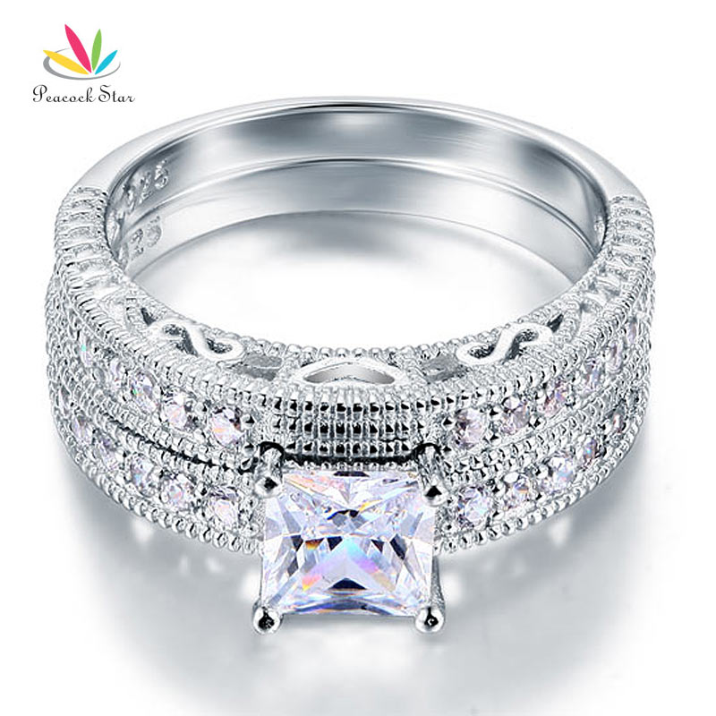 Peacock Star Vintage Victorian Art Deco Wedding Engagement Ring Set 925 Sterling Silver 1 Ct CFR8104 In Rings From Jewelry Accessories On Aliexpress