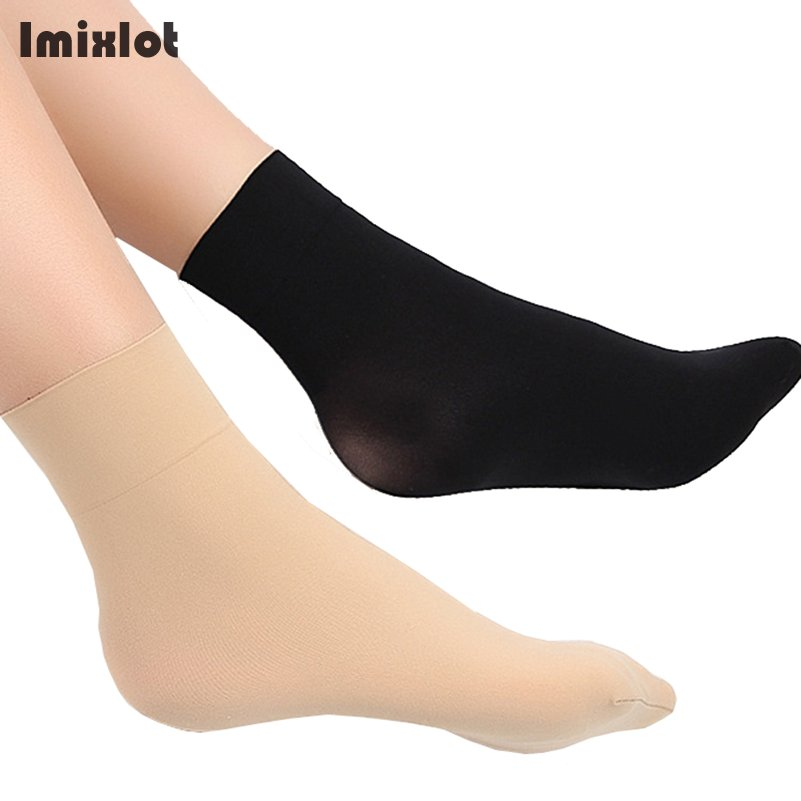 Imixlot 10pair/lot Summer Style Silk   Socks   Women Thin Crystal Short   Socks   Solid Color Breathable Sexy Skin   Sock   Calcetines Mujer