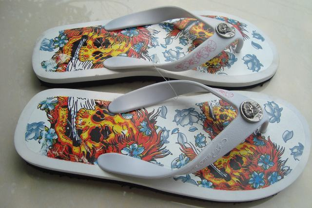 6c9e5e3bb1f5 Ed hardy flip flops shoes personalized shoes male women s shoes skull-in  Women s Sandals from Shoes on Aliexpress.com
