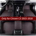 Коврик для вспышки  кожаные автомобильные коврики для Citroen C3 2015 2016 2017 2018  накладки для ног на заказ  автомобильный коврик  автомобильные чехл...