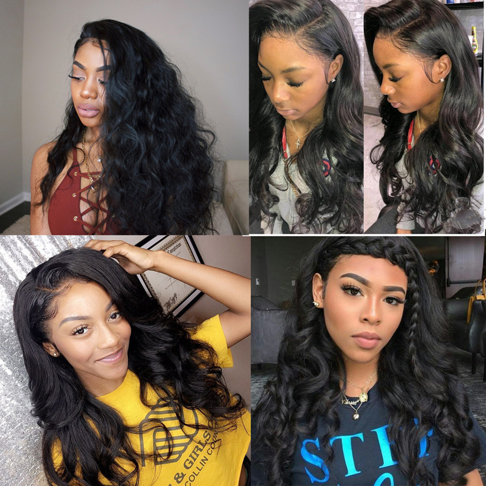 body wave full lace human hair wig with baby hair