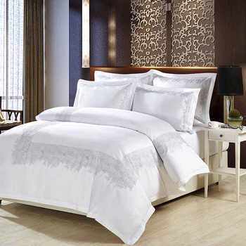 Luxury 100% cotton Embroidery home bedding set white satin duvet cover sets oriental vintage style bed linen bedclothes - DISCOUNT ITEM  48% OFF All Category