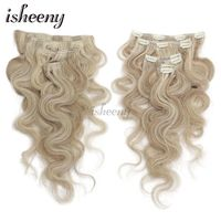 Isheeny 14 16 18 Remy Clip In Human Hair Extensions Piano Color 7pcs/set Clip In Full Head