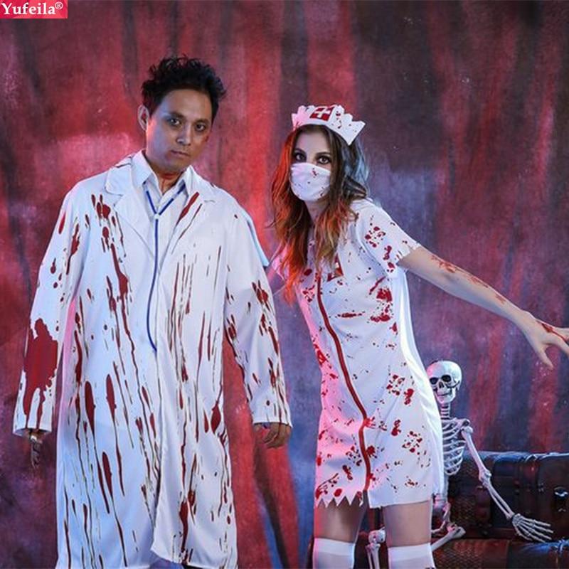 Yufeila Hot Sale Halloween Costume Cosplay Unisex Nurse Uniform Good Design Blood Dot Printing Role Play Men's Nurse Uniform Sex