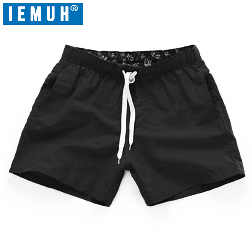 2019 Summer Shorts Men Women Quick Drying fitnesShort homme Casual Beach Shorts Mens Boardshorts Elastic Waist Solid 18 Color(China)