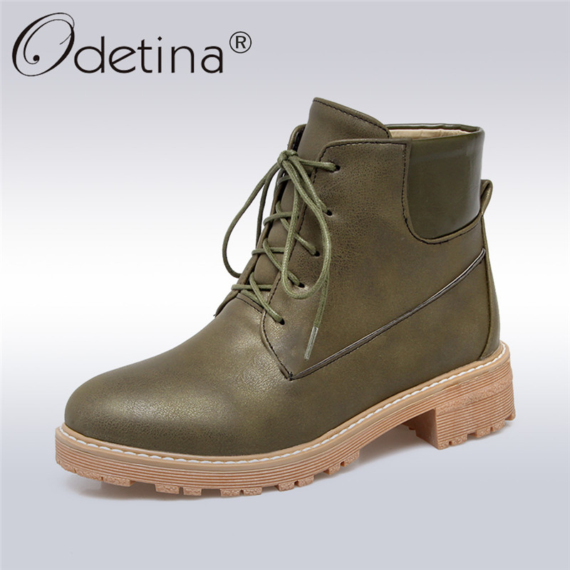 Odetina 2017 New Fashion Women Lace-up Ankle Boots Pu Leather Round Toe Chunky Low Heel Booties Winter Casual Shoes Big Size 43 booties combat lace up flat suede round toe fall military front casual ankle boots autumn work women shoes gray low heel 2017