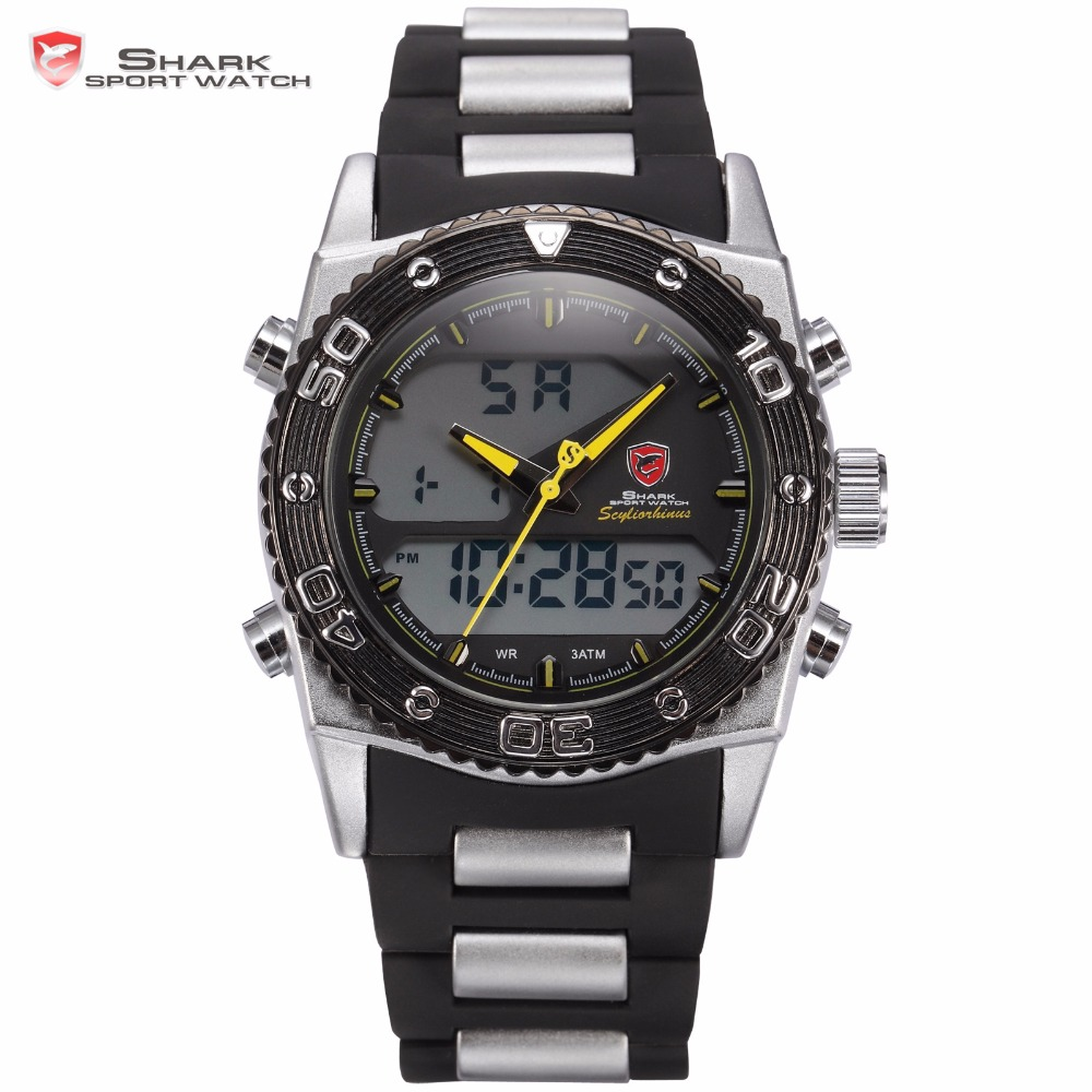 Cat Shark Sport Watch Dual Time Water Resistance Muntifunction Stopwatch Date Men Rubber Band Quartz Digital Watches Gift /SH173 skmei 1016 water resistance sports led watch with japan double movt date day alarm stopwatch function rubber band