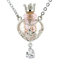 Women Glass Heart Shaped Bottle Pendant With Crown Rhinestone Alloy Necklace Aromatherapy Perfume Diffuser Pendants