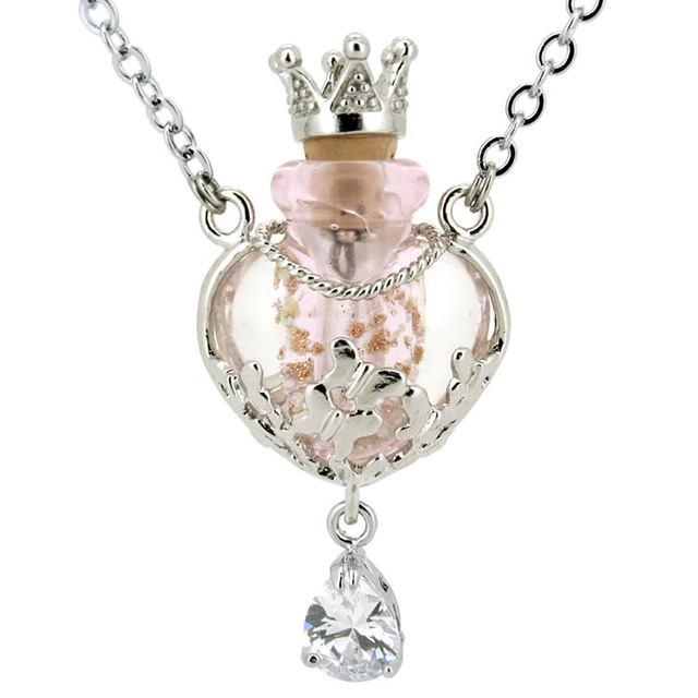2018 new women glass heart shaped bottle pendant with crown 2018 new women glass heart shaped bottle pendant with crown rhinestone alloy necklace aromatherapy perfume diffuser mozeypictures Images