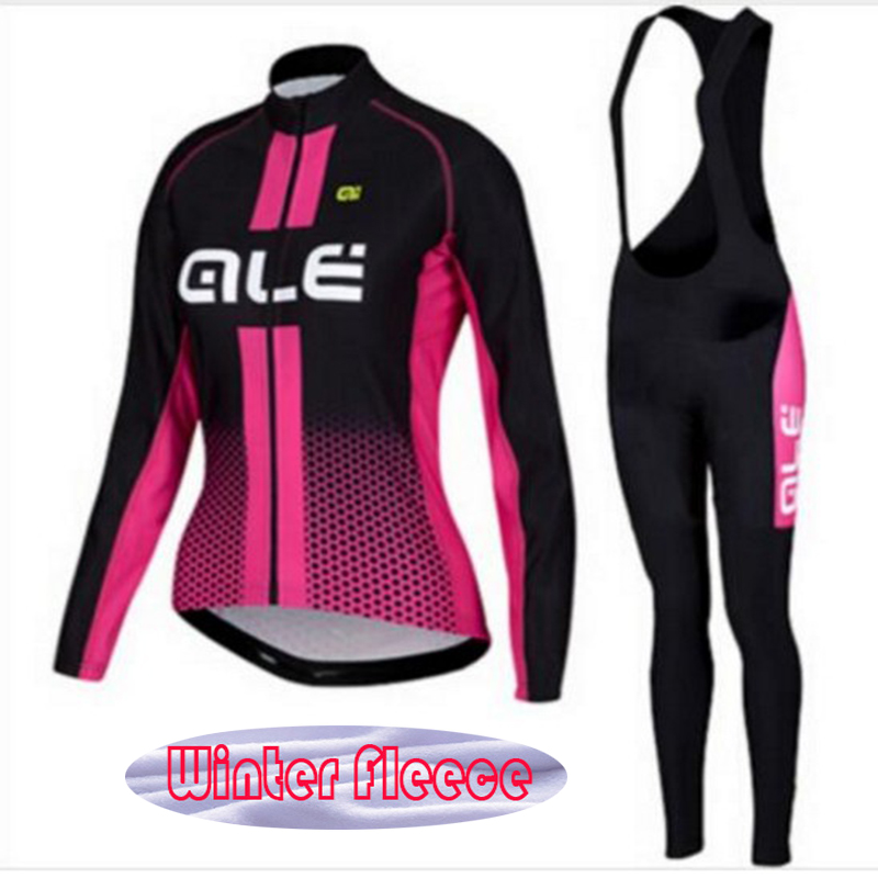 2017 New Woman Winter Thermal Fleece ALE Pro Team Long Sleeve Cycling Jersey Ropa Ciclismo Clothing