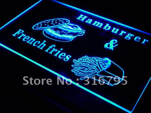 s018 Hamburger French Fries Fast Food LED Neon Light Sign On/Off Swtich 20+ Colors 5 Sizes