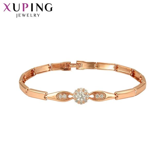 Xuping kolor złoty galwanicznie bransoletka dla dziewczyn europejski syntetyczna sześcienna cyrkonia klasyczna biżuteria prezenty S93, 4-75988