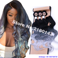 Black Silver Grey Ombre Color Body Wave With Closure,3 Bundles Body Wave With Closure 4pcs/Lot High Quality Synthetic Hair Weave
