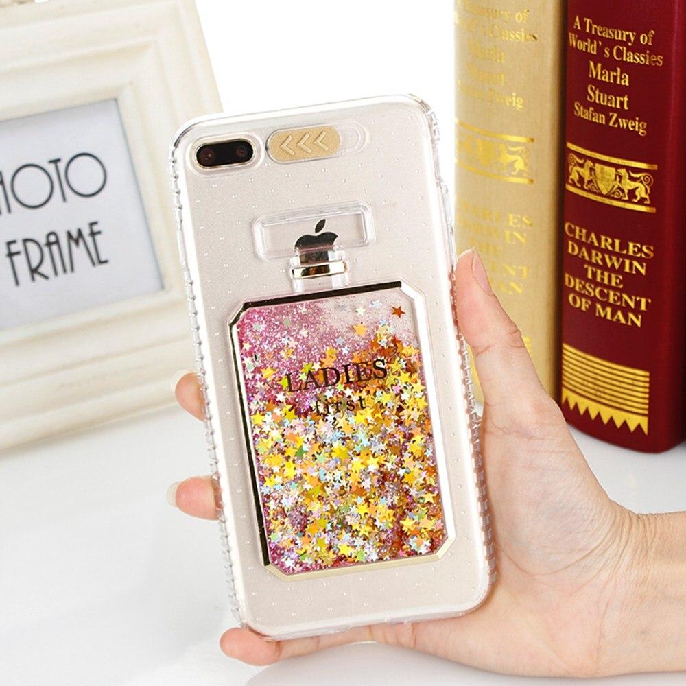 Galleria fotografica Quicksand Case For iphone 7 6S 6 Plus SE Glitter Coque Liquid Cover Perfume Bottle Funda Silicone Stars Shiny Sequin Phone Cases