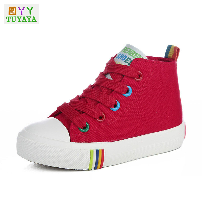 Children Shoes Girls Sneaker 2018 Spring Autumn Lace-Up Child Canvas Shoes Boys High Top White Shoes for Girls School Shoes