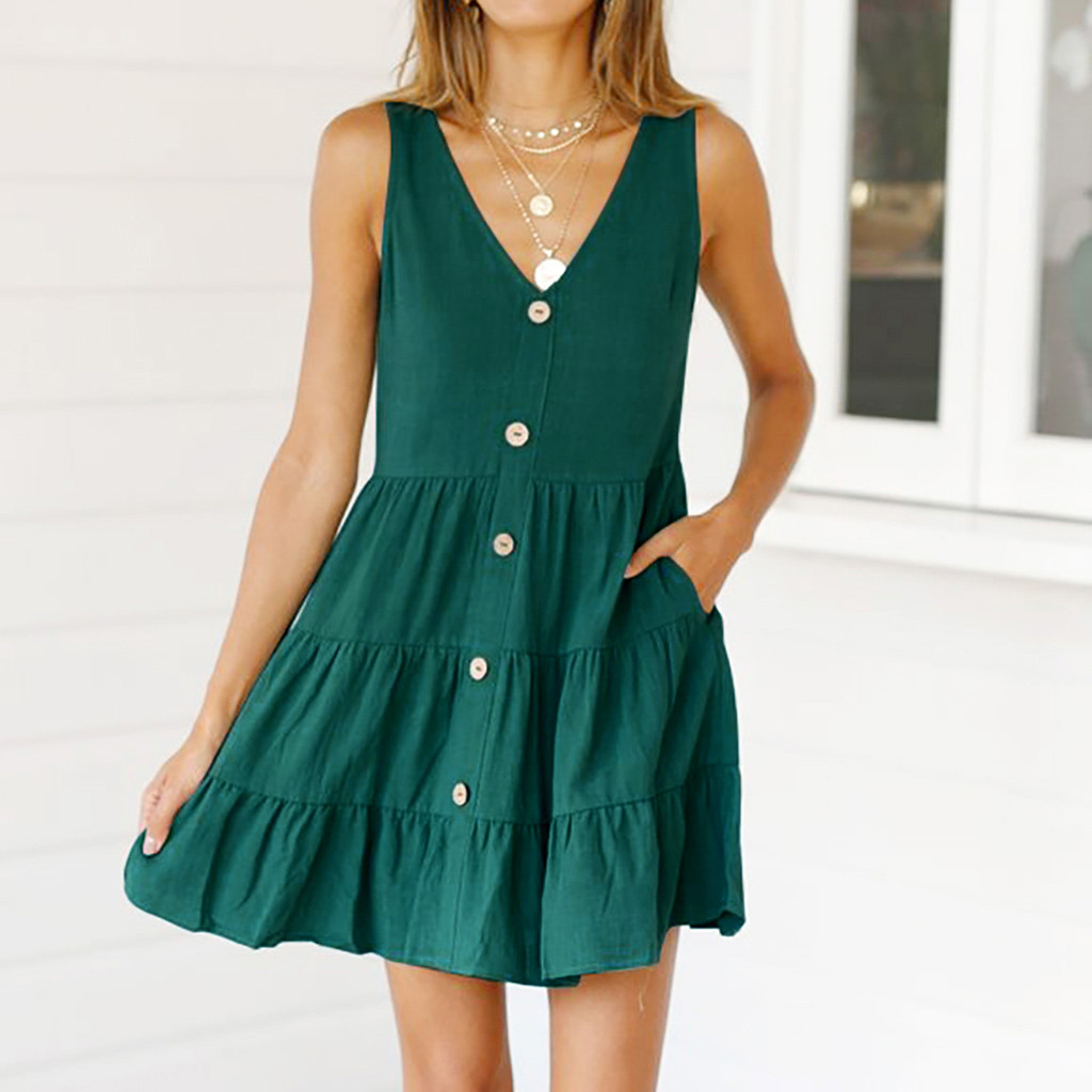 Womail Button Design V-Neck Loose Polyester Material Mini Pocket Sleeveless Fashion Solid Color Dresses Female Dress 19APR24