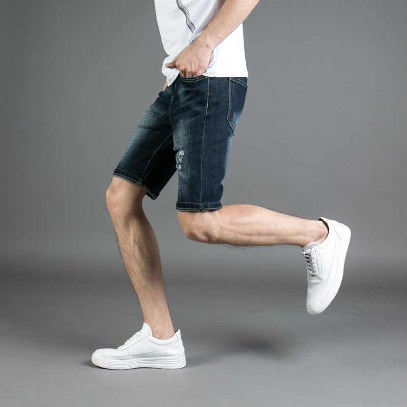 2018 новые модные мужские летние джинсовые шорты длиной до колена черные синие узкие эластичные короткие рваные джинсы Брендовые джинсовые шорты мужские