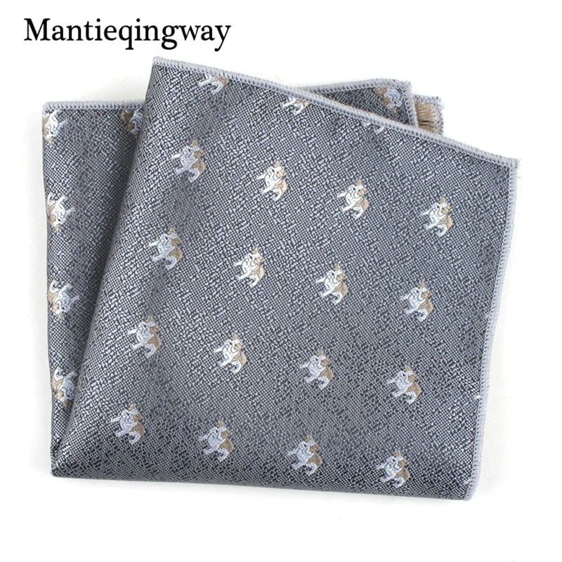 Mantieqingway Cartoon Animals Floral Printed Handkerchiefs For Men's Suit Polyester Yarn Pocket Square Wedding Chest Towel Hanky