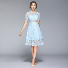 Summer New Womans Lace Dress O-neck Female Casual Mid Short Sleeve Hollow-out Laces A-line Woman Knee-length