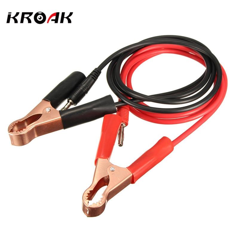 KROAK 2Pcs 100CM 15A Banana Plug Connectors To 80mm Car Battery Clip Test Clamp Power Battery Jump Start Cable