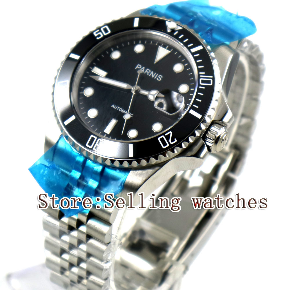 цена 40mm Parnis Black Dial Black Ceramic Bezel Jubilee Style Strap Sapphire Glass MIYOTA Automatic Mens Watch steel case онлайн в 2017 году