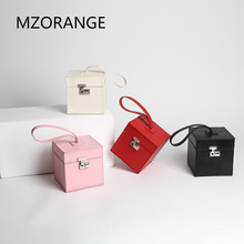 Famous brand Cow leather box handbags mini Cube Brand original design crossbody bag for women messenger bags