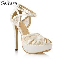 Sorbern Elegant Ivory Silk Wedding Shoes Peep Toe Lace Ankle Straps Bridal Shoes Sandals Summer Sandals