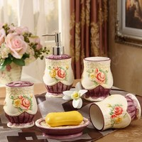 5 Pcs Floral ceramic bathroom accessories set toothpaste toothbrush holder straw for bathroom suite