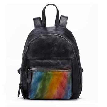 Natural Skin Rucksack Girls School Daypack Brush Color Small Travel Bag Retro Trends Knapsack Women Genuine Leather Backpack