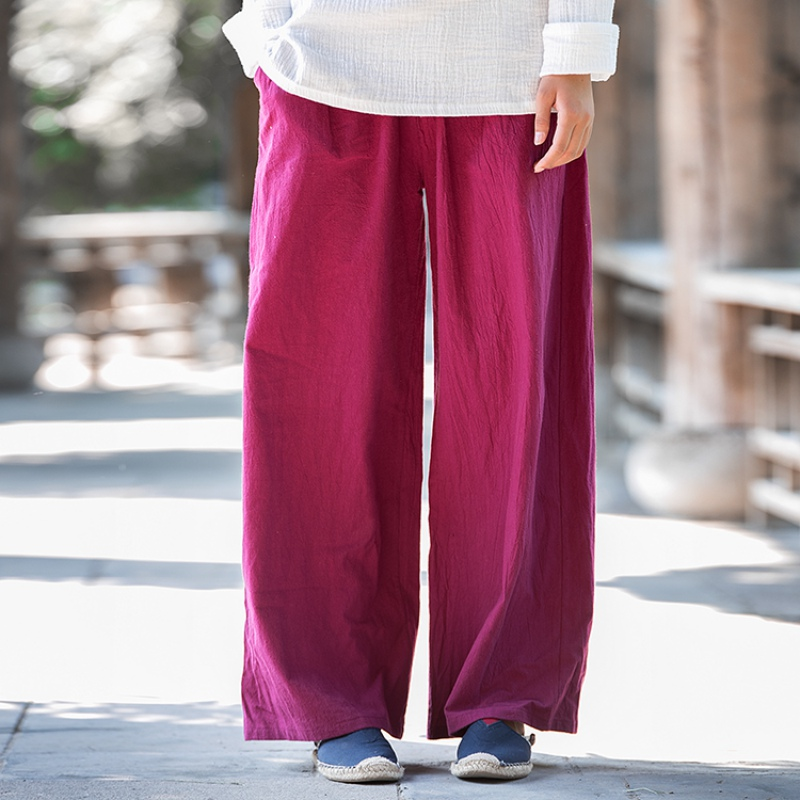 Solid Elastic waist Linen Cotton Women Harem   Pants   Summer Loose Casual   Wide     leg     Pants   Brand Design Linen   Wide     leg   Trousers B101