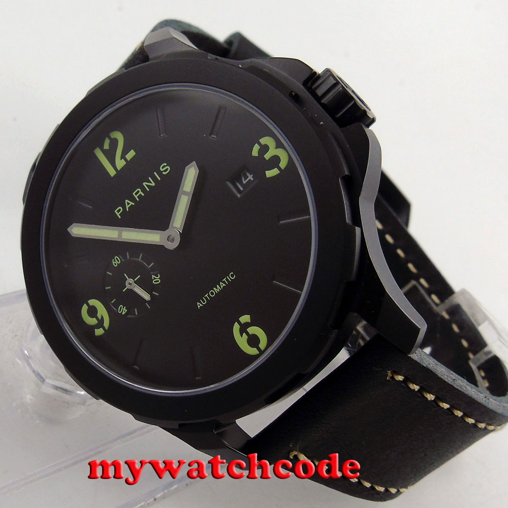 44mm Parnis black dial PVD case Sapphire glass date Automatic Mens Watch P780B цена и фото