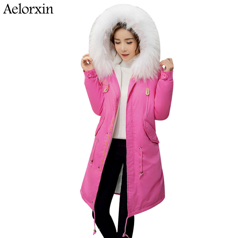 2017 Parka Women Full Sleeve Hooded White Fur Collar Coat Winter Warm Parkas Inside with Fur Female Jackets -30 Degrees nike alliance parka 550 hooded