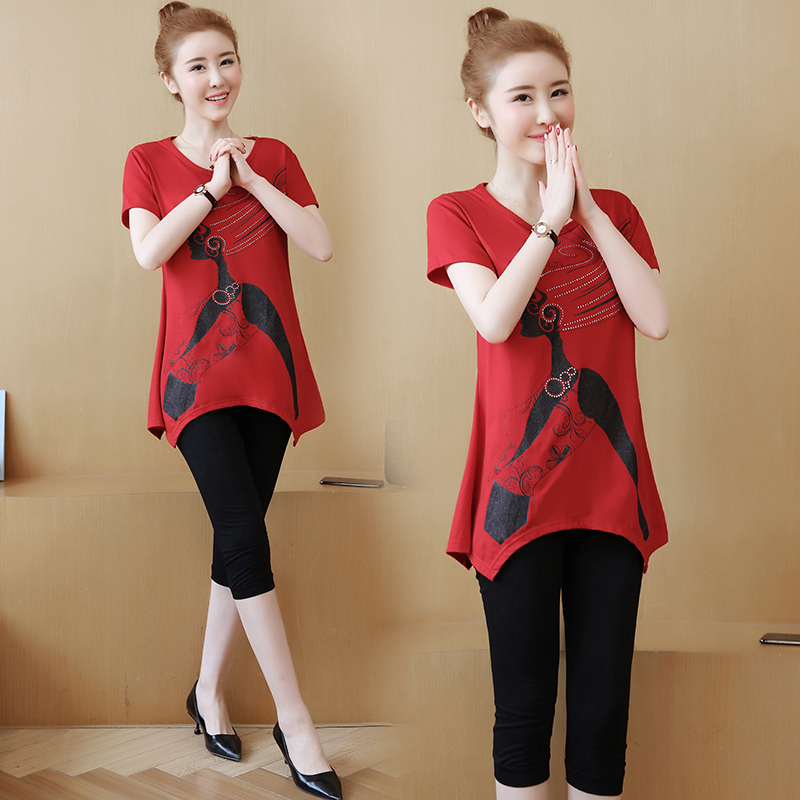 L-5xl Summer Casual Two Piece Sets Women Plus Size Short Sleeve Printed Beading Tshirts And Cropped Pants Sets Suits Femme 2019 47