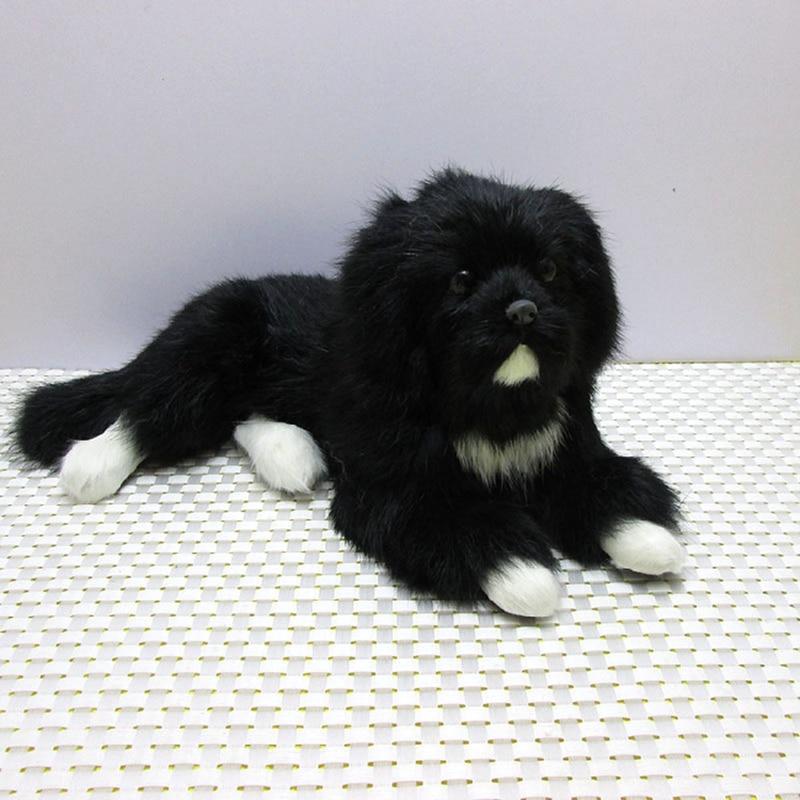 Dorimytrader cute lifelike animal black dog plush toy realistic dogs decoration gift 30x17x13cm 2 Models DY80006